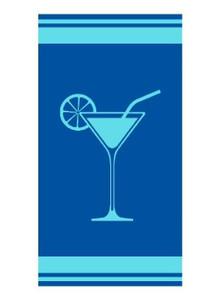 "Living Dreams Velour Strandtuch ""Cocktail"" 90 x 180 cm, blau"