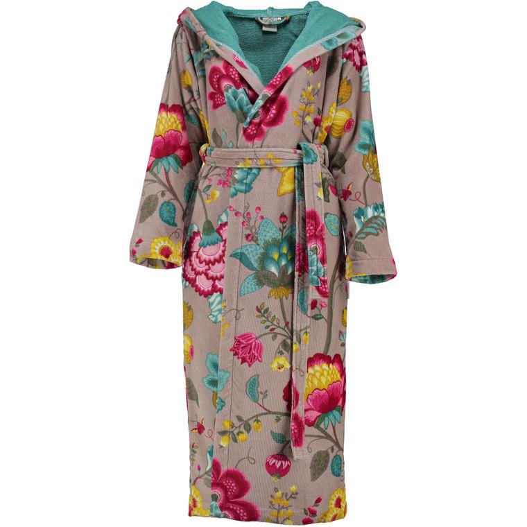 Pip Damen Bademantel Floral Fantasy, XS - XXL, khaki