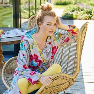 Pip Damen Bademantel Floral Fantasy, XS - XXL, khaki – Bild 3