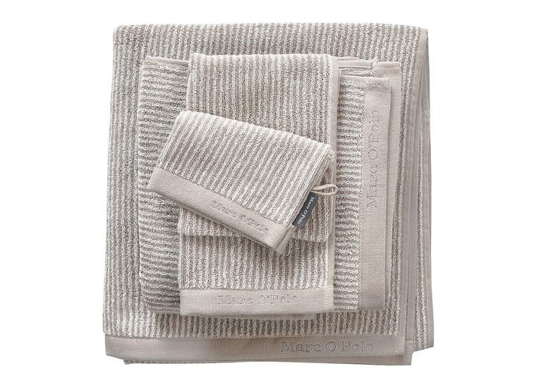Marc O´Polo Timeless Stripe Waschhandschuh Gästetuch Handtuch Duschtuch, oatmeal/white
