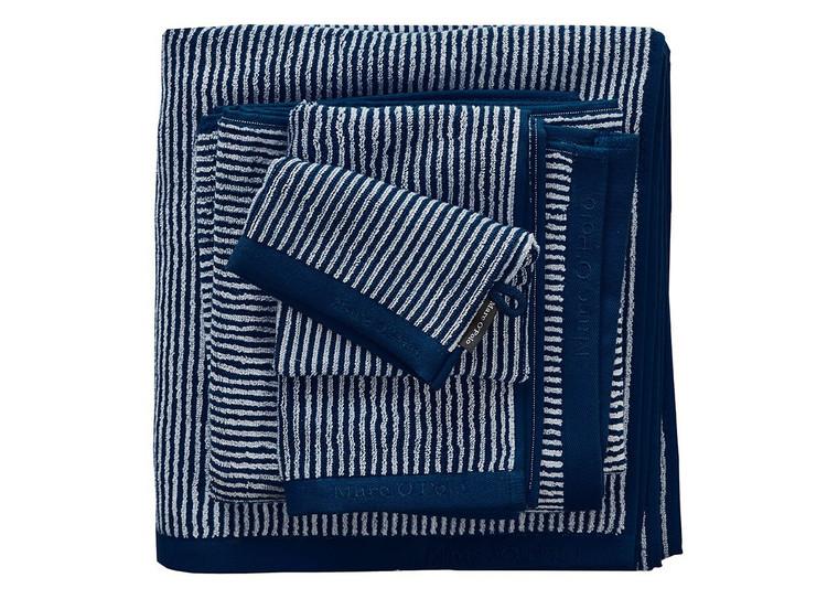 Marc O´Polo Timeless Stripe Waschhandschuh Gästetuch Handtuch Duschtuch, marine/silver