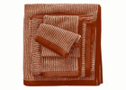 Marc O´Polo Timeless Stripe Waschhandschuh Gästetuch Handtuch Duschtuch, burnt orange/oatmeal 001