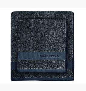 Marc O´Polo Melange Waschhandschuh Gästetuch Handtuch Duschtuch, marine/silver