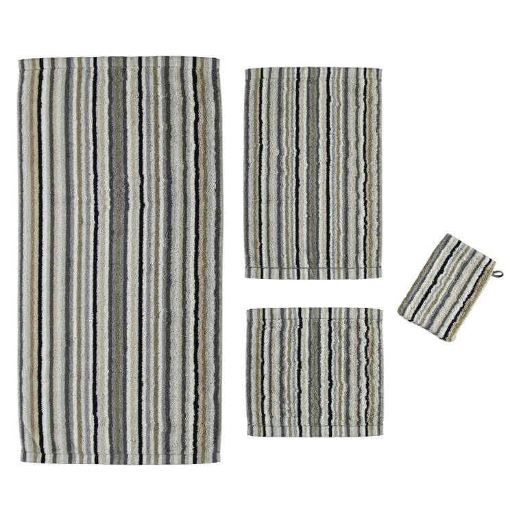 Cawö Lifestyle Waschhandschuh Gästetuch Handtuch Duschtuch, Fb. 37 kiesel gestreift