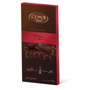 Zartbitter-Schokoladentafel mit 72% Kakao 100 g - Cémoi – Bild 1
