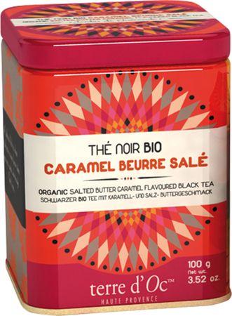 Schwarzer Bio Tee mit salzigem Butter-Karamell (Thé noir caramel beurre salé) in dekorativer Metalldose 100 g - Terre d'Oc – Bild 1