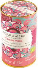 Schwarzer Bio Eistee mit Weinbergpfirsichen (Thé noir glacé pêche de vigne) in dekorativer Metalldose 100 g - Terre d'Oc – Bild 1