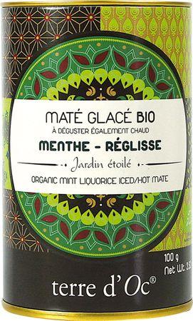 Bio Mate Eistee mit Pfefferminze und Lakritz (Maté glacé menthe réglisse) in dekorativer Metalldose 100 g - Terre d'Oc – Bild 1