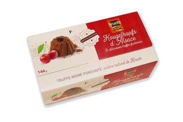 Feinherbe Trüffelspezialität mit Kirsche (Kougelhopfs d'Alsace) 144 g - Chocolaterie Bruntz – Bild 1