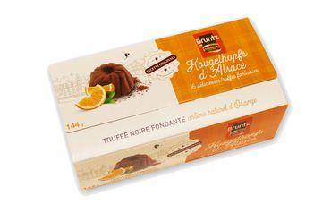 Feinherbe Trüffelspezialität mit Orange (Kougelhopfs d'Alsace) 144 g - Chocolaterie Bruntz – Bild 1