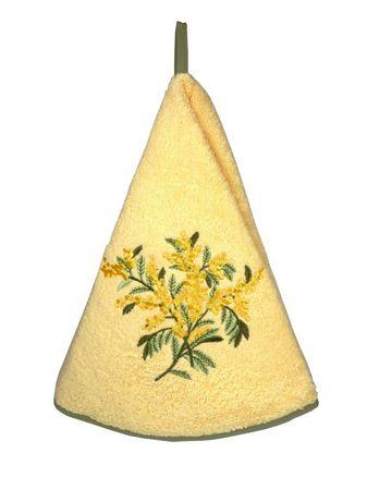 Handtuch rund 'Blume' gelb - Coton Blanc – Bild 1