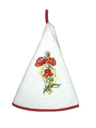 Handtuch rund 'Mohnblume' weiß - Coton Blanc – Bild 1