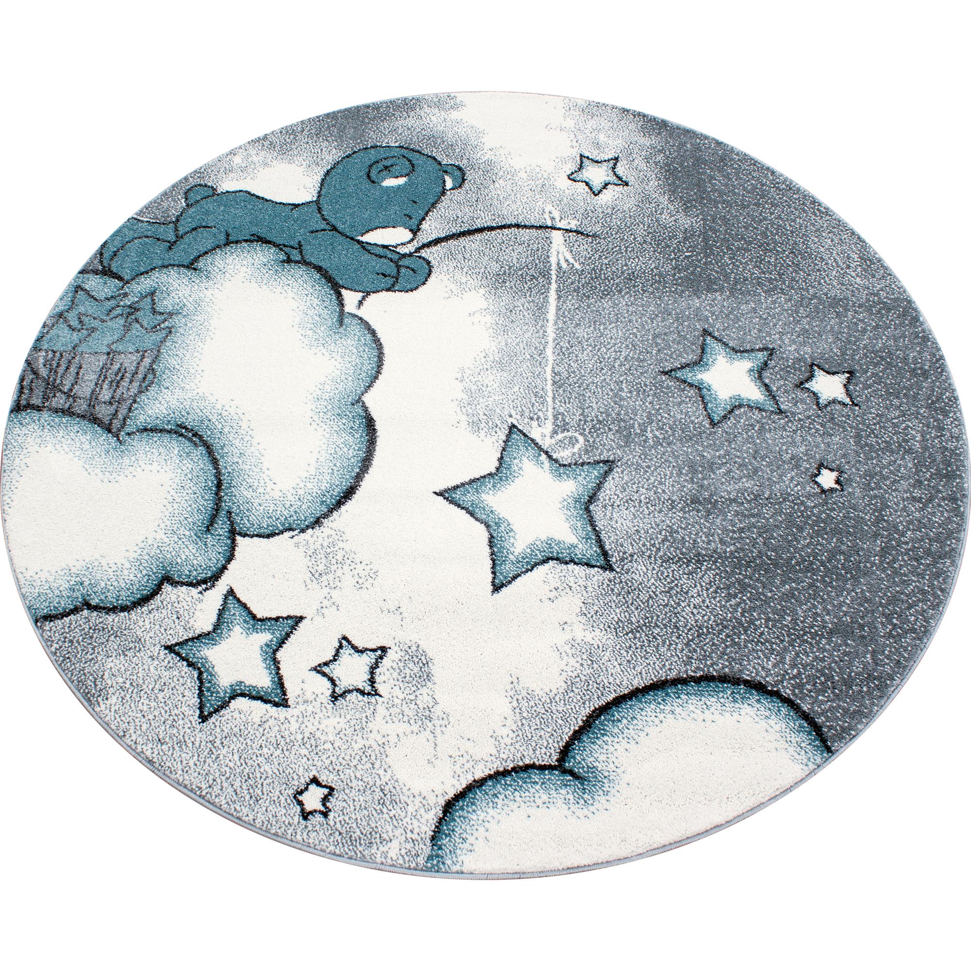 Teppich Kinderteppich Rund Kurzflor Pflegeleicht Bär Kinderzimmer Blau