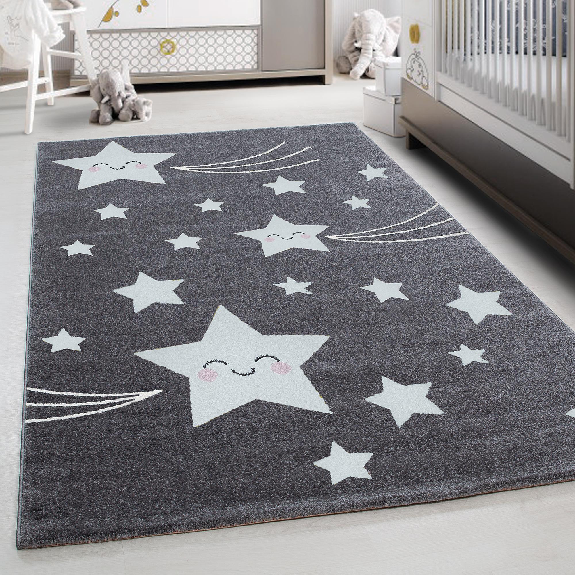 TEPPIUM Kids Play Mat rug Baby Room Carpet with Stars Grey carpet  Ceres  Webshop