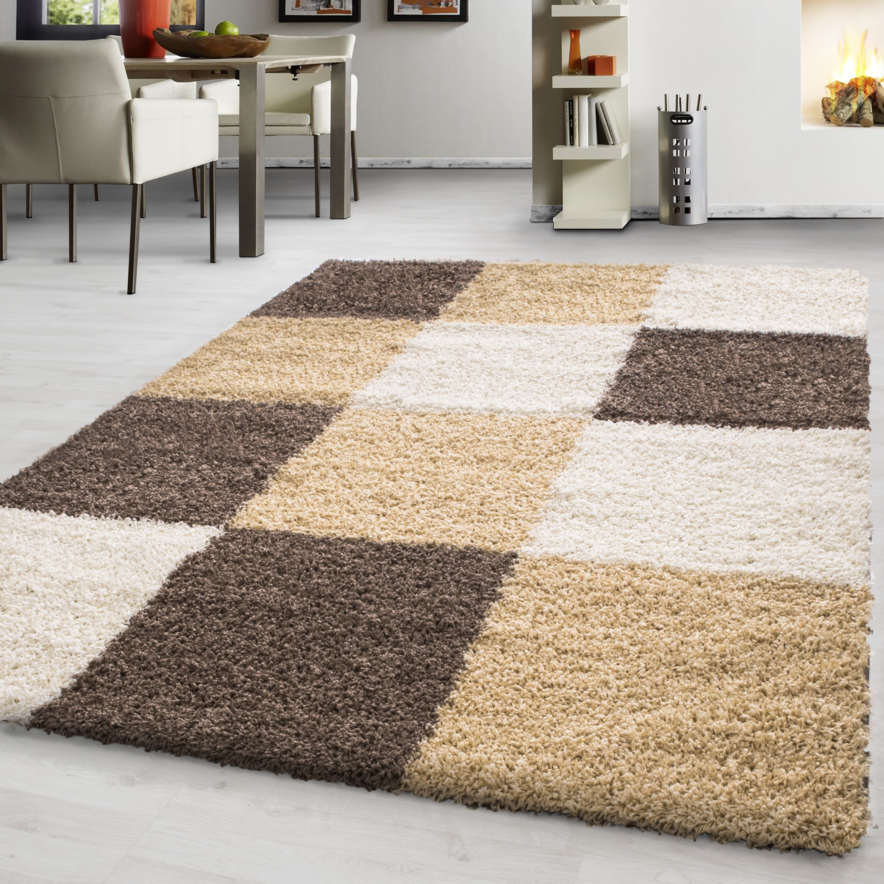 two tone chequered Shaggy fluffy carpet