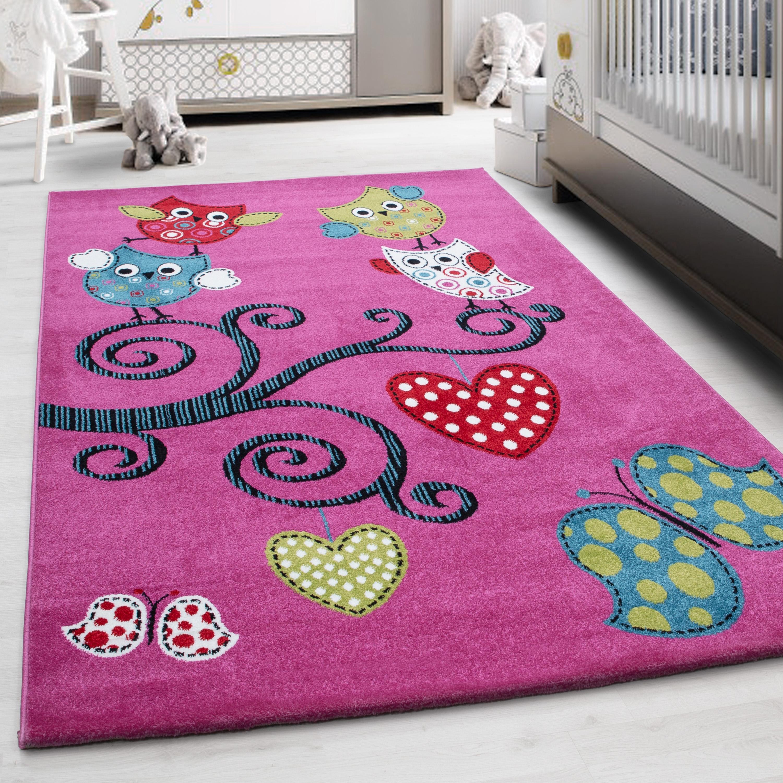 Teppich Kinderteppich Kurzflor Pflegeleicht Eule am Herz Kinderzimmer Lila    Ceres Webshop