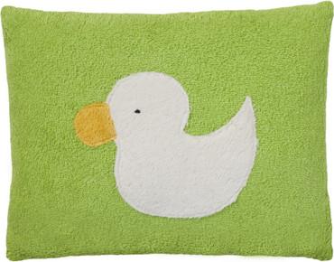Bio Plüsch Kissen grün - Motiv Ente – Bild 1