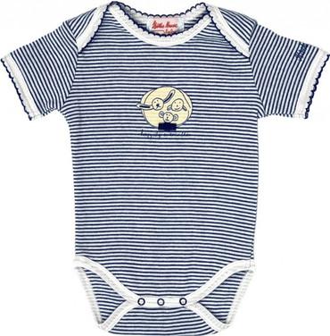 Baby Kurzarmbody marine-gestreift - Organic