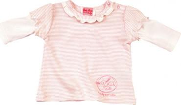 Bio Babyshirt rosa-weiß - Langarmshirt