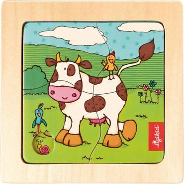 Sigikid Holzpuzzle Kuh - 4 Teile – Bild 1