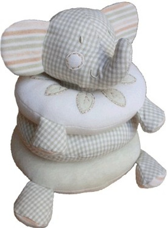 Babyspiel 4-teilig - Rassel Greifling Steckspiel Elefant