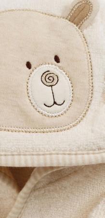 Bio Babybademantel Bär und Babyschuhe Set – Bild 2