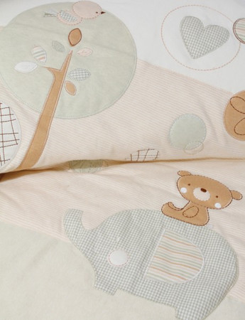 Wattierte Bio Babydecke Teddy und Elefant