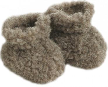 Baby Hausschuhe Wollflor braun