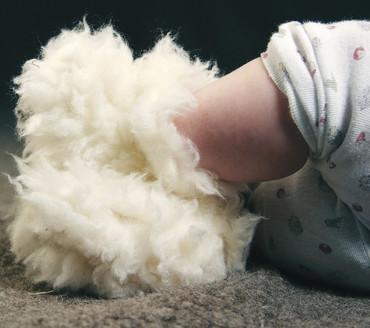 Saling Natur Babyschuhe Zottel - Wolle Kaschmir