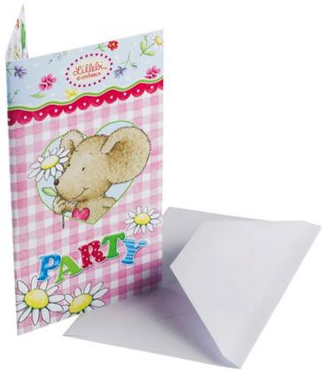 Lillebi Einladungskarte mit Umschlag rosa/blau im 6er Pack