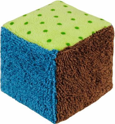 Bio Babywürfel - Rassel Plüschwürfel blau-grün
