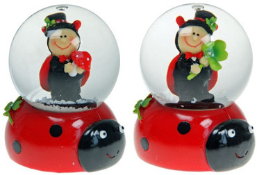 Mini Schneekugel Marienkäfer - Glücksbringer Schüttelkugel 2. Wahl