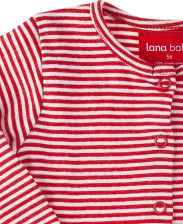 Bio Strampler Mädchen rot-geringelt von Lana – Bild 2