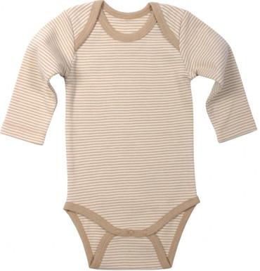 Baby Langarmbody Bio-Baumwolle hellbraun geringelt