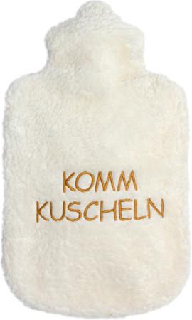 Bio Plüsch Wärmflasche hell - komm kuscheln