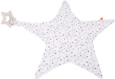 Kikadu Musselin Spucktuch mit Naturkautschuk Beißring Stern