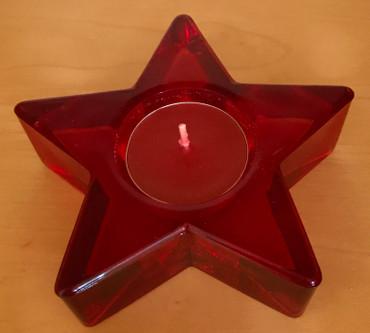 Teelichthalter Stern mit Teelicht