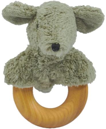 Greifspielzeug Maus mit Holzbeißring | Senger Natur