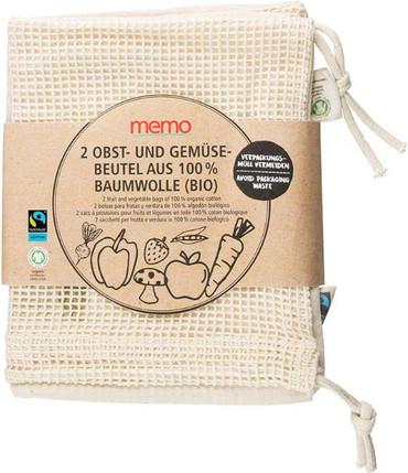 Obst und Gemüsebeutel Baumwolle 2 St. | Memo BIO – Bild 1