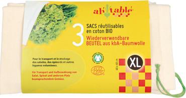 Bio Baumwollbeutel mit Zugband, 3 Größen | Ah! Table! – Bild 1