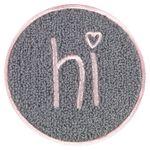 "likalla XL Chenille Patch ""hi"", zum Aufbügeln, rosa / anthrazit 001"