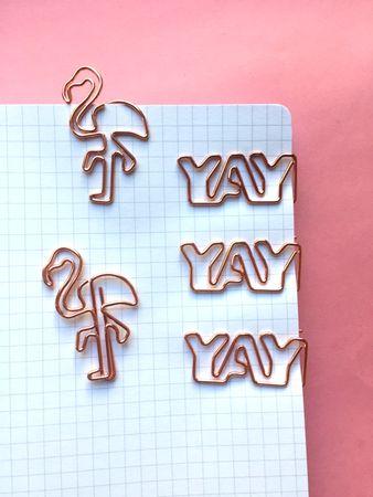 Flamingo Büroklammern in roségold - 5er Pack – Bild 3