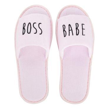 Wellness-Slipper offen mit schwarzer boss babe Bestickung in rosa