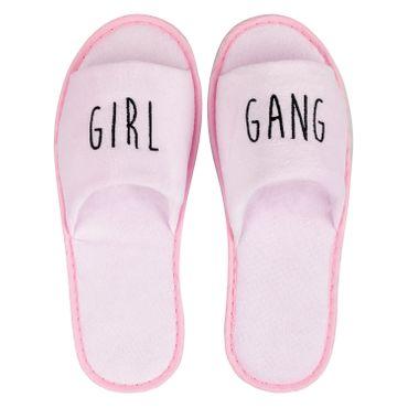 Wellness-Slipper offen mit schwarzer GIRL GANG Bestickung in rosa
