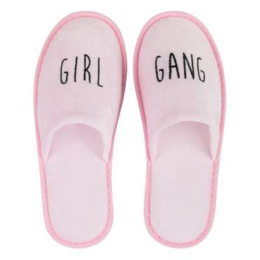 Wellness-Slipper geschlossen mit schwarzer GIRL GANG Bestickung in rosa – Bild 1