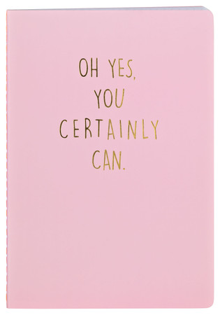 "Notizheft ""Oh yes, you certainly can."", hellrosa mit Goldprägung – Bild 1"