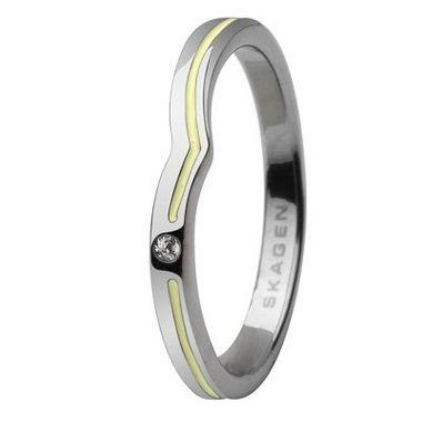 Skagen Damen Ring Silber/Gelb JRSY018, Ringgröße:54 (17.2) SS7 M27
