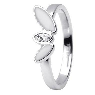 Skagen Damen Ring Silber/Weiß JRSW029, Ringgröße:57 (18.1) SS8 M12