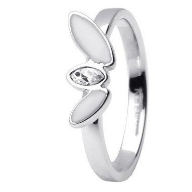 Skagen Damen Ring Silber/Weiß JRSW029, Ringgröße:54 (17.2) SS7 M12