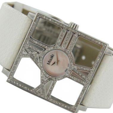 Misaki Damen Uhr Armbanduhr PCUWDIVA Lederband weiss Zyrkonia